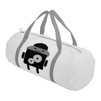 Duffle Gym Bag White With Silver Straps