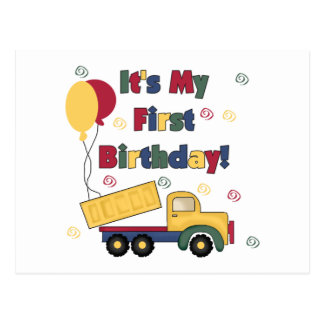 Dump Truck First Birthday  Tshirts and Gifts Postcard