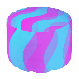 Duo Waves cyan pink + your ideas Round Pouffe