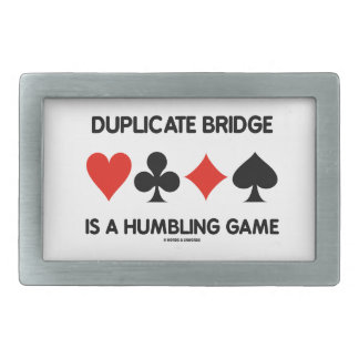 Duplicate Bridge Is A Humbling Game (Card Suits) Rectangular Belt Buckle