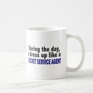 During The Day I Dress Up Secret Service Agent Basic White Mug