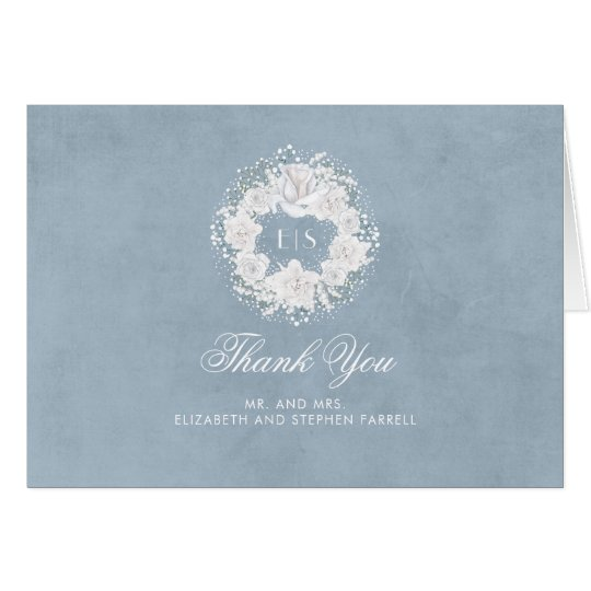 Dusty Blue and Baby's Breath Wedding Thank You Card