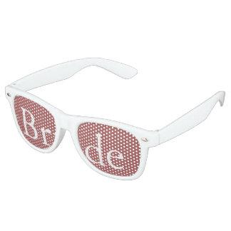 Dusty Cedar Brown with White Wedding Detail Retro Sunglasses