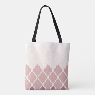 Dusty Pink Quatrefoil All-Over-Print Tote Bag