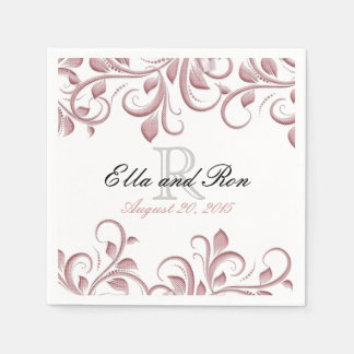 Dusty Rose Monogram Swirl Wedding Napkin Template Disposable Serviette