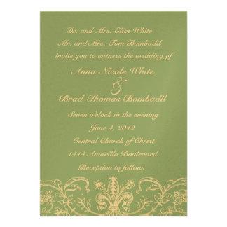 Dusty Sage and Cream Lace Wedding Invitation