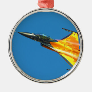 Dutch F-16 Fighting Falcon Jet Airplane Silver-Colored Round Decoration