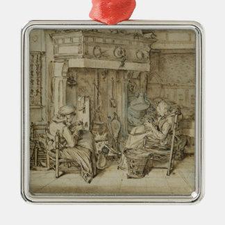 Dutch interior, 1617 Silver-Colored square decoration