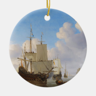 Dutch Men-o'-War and Other Shipping in a Calm Round Ceramic Decoration