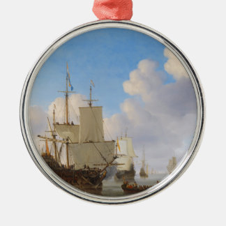 Dutch Men-o'-War and Other Shipping in a Calm Silver-Colored Round Decoration