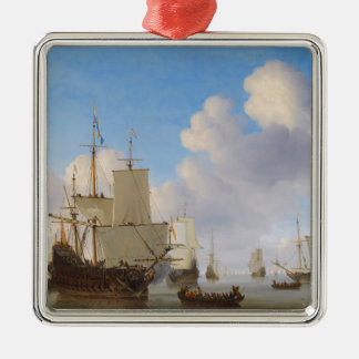 Dutch Men-o'-War and Other Shipping in a Calm Silver-Colored Square Decoration