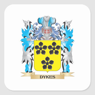 Dykes Coat of Arms - Family Crest Square Sticker