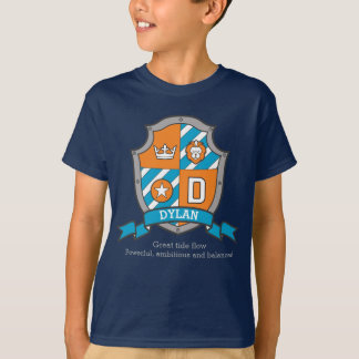 Dylan boys D name & meaning knights shield T-Shirt