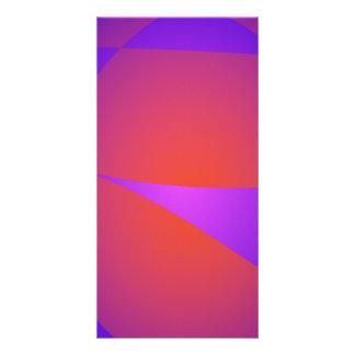Dynamic Contrast Purple and Orange Customized Photo Card