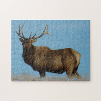 E0062 Bull Elk Sky Lined puzzle. Jigsaw Puzzle