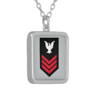 E-6 Petty Officer First Class Silver Plated Necklace
