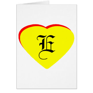 E Heart Yellow Red Wedding Invitation The MUSEUM Greeting Card