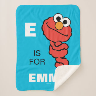 E is for Elmo   Add Your Name Sherpa Blanket