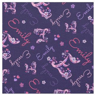 E monogram and personalised name Emily fabric