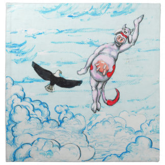 Eagle and pink leaping cow printed napkins