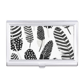 Eagle Owl Feather Pattern Watercolor Black White Business Card Holder