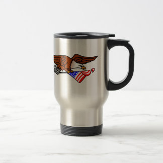 Eagle with Flag Stainless Steel Travel Mug