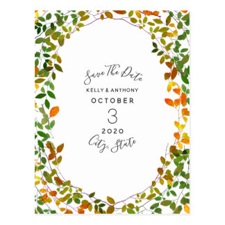 Early Autumn Botanical Save The Date Postcard