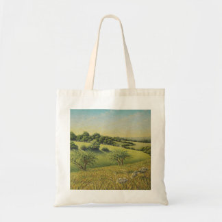 Early Evening Sun, Epsom Downs, Surrey Pastel Budget Tote Bag