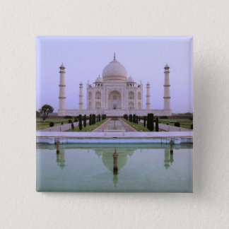 early morning view of the Taj Mahal reflected in 15 Cm Square Badge
