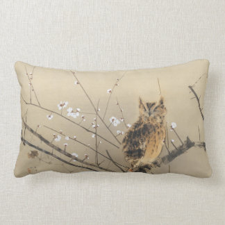 Early Plum Blossoms by Nishimura Goun, Vintage Owl Lumbar Cushion