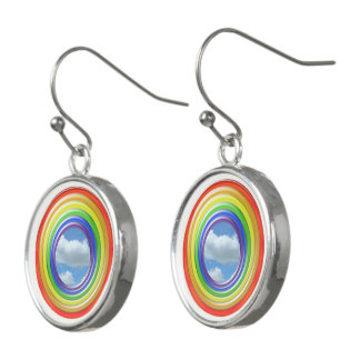 Earring - Circular Rainbow and Clouds Earrings