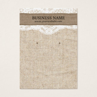 Earring Display Rustic Burlap & Lace Vintage Business Card