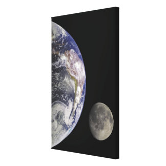 Earth and Moon Gallery Wrapped Canvas