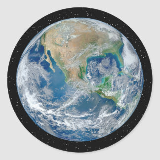 Earth In Star Field - Multiple Products Classic Round Sticker
