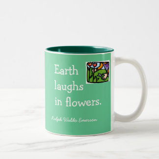 Earth laughs in flowers Two-Tone coffee mug