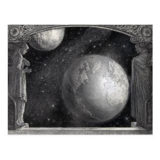 """Earth, Moon, and Milky Way"" postcards"