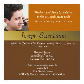 Earth Tone Bar Mitzvah Invitation