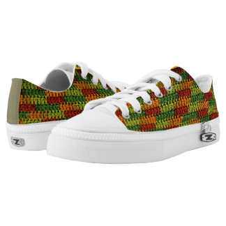 Earth Tone Greens Oranges Reds and Gold Crochet Printed Shoes