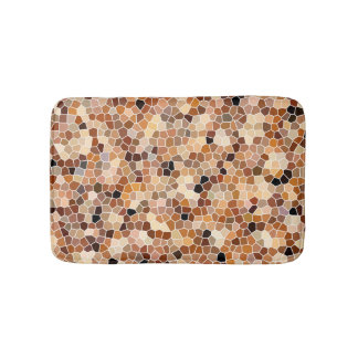 Earth tone mosaic print bath mat
