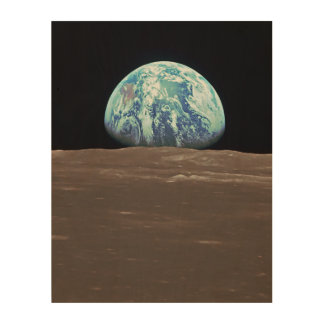 Earthrise from the Moon Wood Canvas