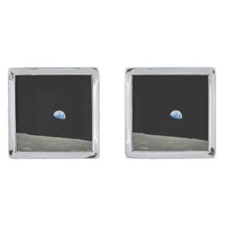 EARTHRISE! (solar system) ~ Silver Finish Cufflinks