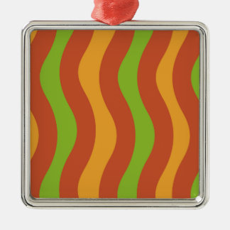 Earthy Wave Stripes Christmas Ornament