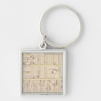 East Providence Rhode Island Map Silver-Colored Square Key Ring
