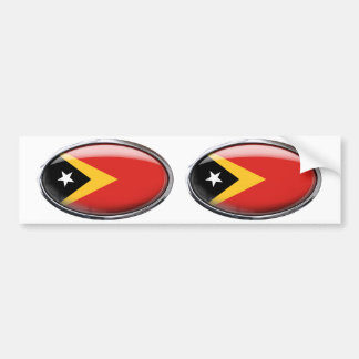 East Timor Flag in Glass Oval Bumper Sticker
