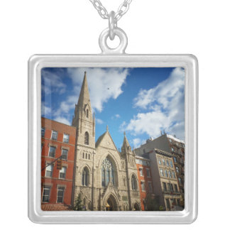 East Village Church and Buildings Silver Plated Necklace