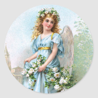 Easter Angel Round Sticker