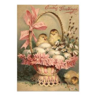 Easter Basket Egg Chick Pink Bow Card