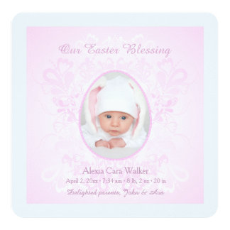Easter Blessing Pink Photo Birth Announcement