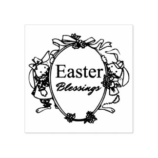 Easter Blessings Cute Easter Bunnies Typography Rubber Stamp