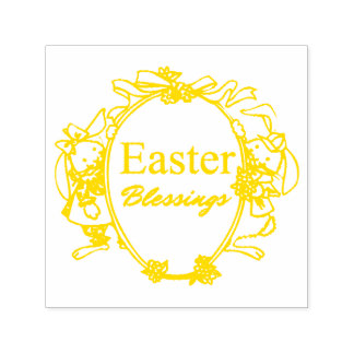 Easter Blessings Cute Easter Bunnies Typography Self-inking Stamp